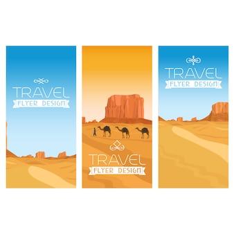 Conjunto de folhetos de paisagem de deserto de montanhas