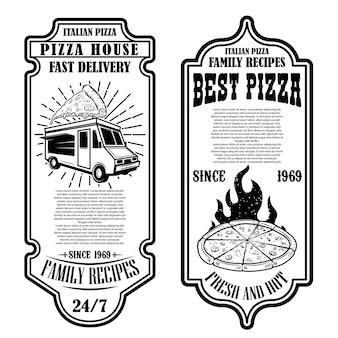Conjunto de folhetos de pizzaria. elementos de design para logotipo, etiqueta, sinal, crachá, cartaz.