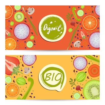 Conjunto de folhetos horizontais de alimentos orgânicos