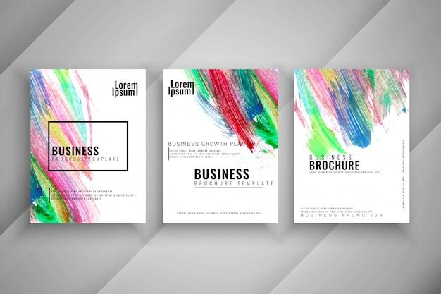 Conjunto de folhetos inovadores e inovadores de três cores abstratas