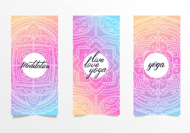 Conjunto de folhetos para o estúdio de yoga com mandala colorida
