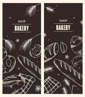 Conjunto de folhetos para uma padaria. ilustração