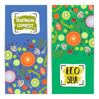 Conjunto de folhetos verticais de cosméticos vegetarianos