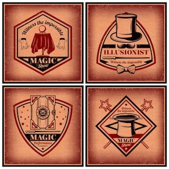 Conjunto de folhetos vintage magic show