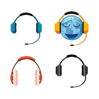 Conjunto de fone de ouvido. conjunto de desenhos animados de fone de ouvido