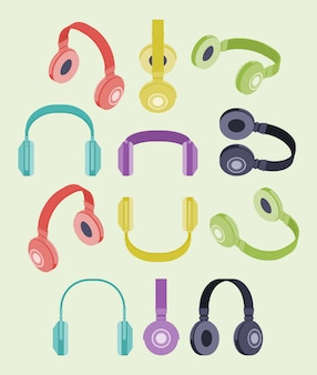 Conjunto de fones de ouvido coloridos isométricos