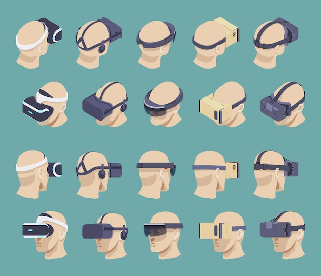 Conjunto de fones de ouvido de realidade virtual isométrica