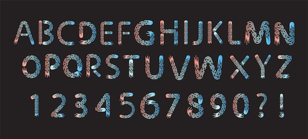 Conjunto de fonte de alfabeto de linha escova vermelha e azul elegante para logotipo