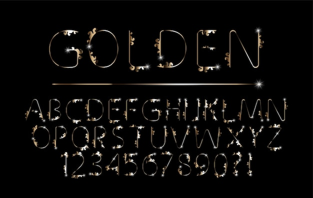 Conjunto de fonte de alfabeto elegante de metal cromado dourado para logotipo de vetor de convite de pôster