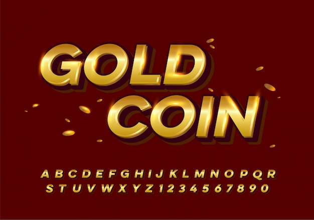 Conjunto de fonte de alfabeto elegante ouro colorido metal chrome.