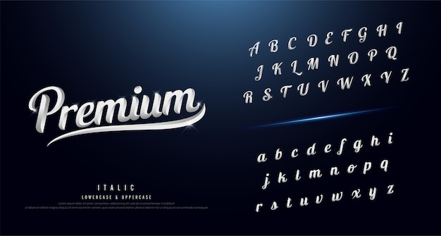 Conjunto de fonte de alfabeto elegante prata colorido metal cromado
