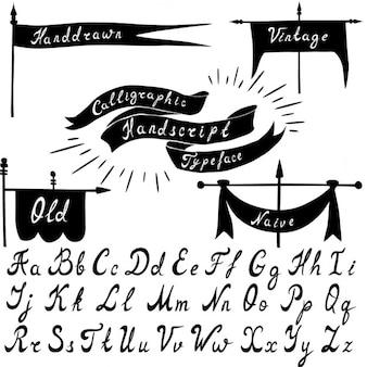 Conjunto de fonte handdrawn caligráfico e banners do vintage