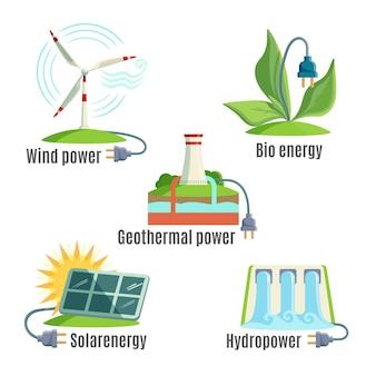 Conjunto de fontes alternativas de energia. vento. energia geotérmica. bioenergia. energia solar. energia hidrelétrica. ilustrações de moinhos de vento, plantas, bateria solar, água, fontes térmicas com ilustração de plugue