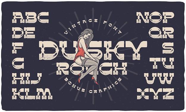 Conjunto de fontes chamado dusky rough com efeito texturizado e ilustração vetorial feminina de pin-up