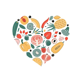 Conjunto de fontes de ácido ascórbico de vitamina c de vetor frutas, legumes e frutas, forma de coração