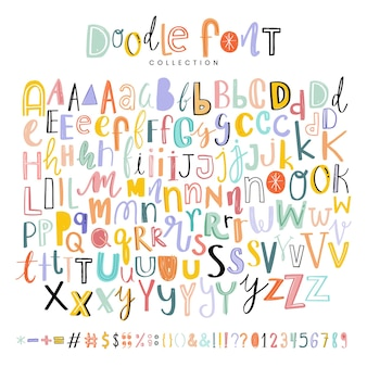 Conjunto de fontes de doodle de letras, pontuações e números