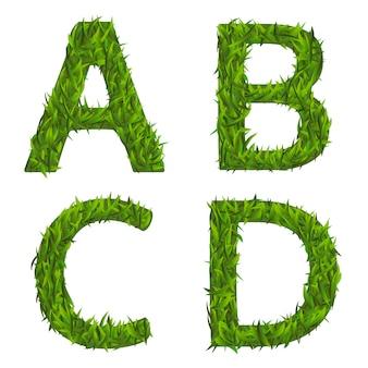 Conjunto de fontes de grama verde