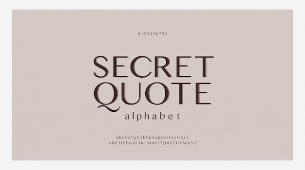 Conjunto de fontes de letras do alfabeto elegante. fontes de tipografia clássica estilo clássico, maiúsculas, minúsculas e número regulares.