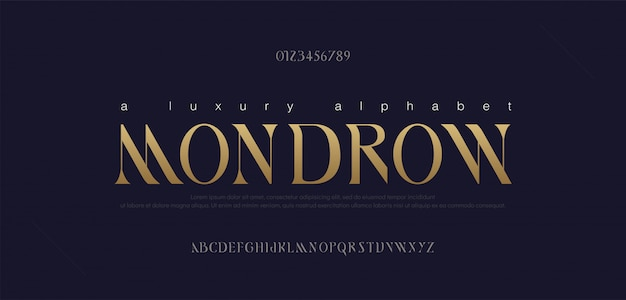 Conjunto de fontes de letras do alfabeto elegante. fontes de tipografia de letras douradas clássicas em maiúsculas e número regulares.