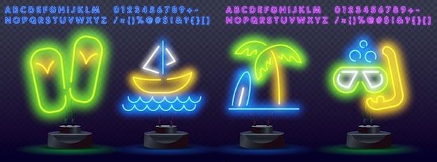 Conjunto de fontes de néon de verão.