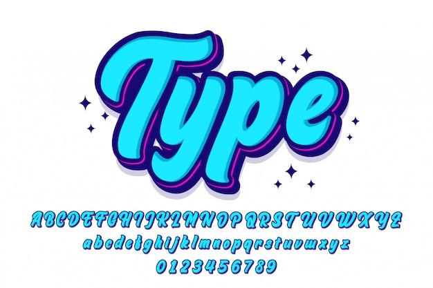 Conjunto de fontes de script elegante com estilo retrô