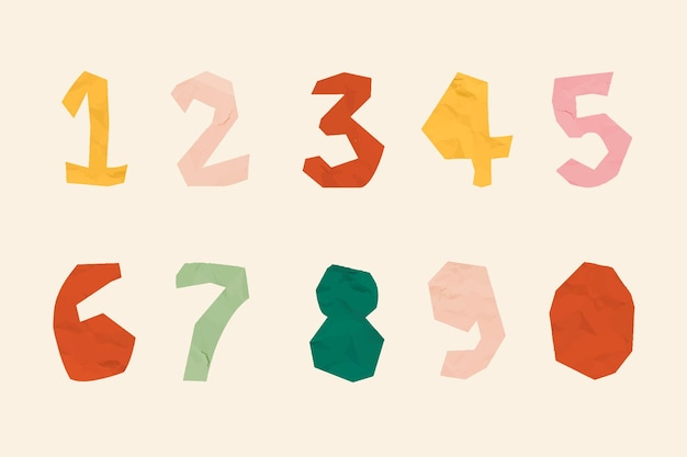 Conjunto de fontes de tipografia de doodle de número