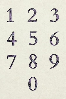 Conjunto de fontes de tipografia retrô de números florais