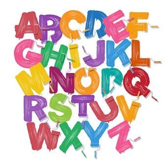 Conjunto de fontes do alfabeto de escova de rolo vermelho