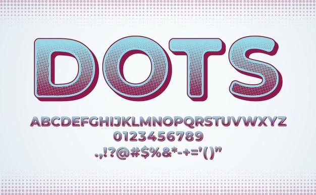 Conjunto de fontes do alfabeto. gradiente de efeito de ponto de meio-tom