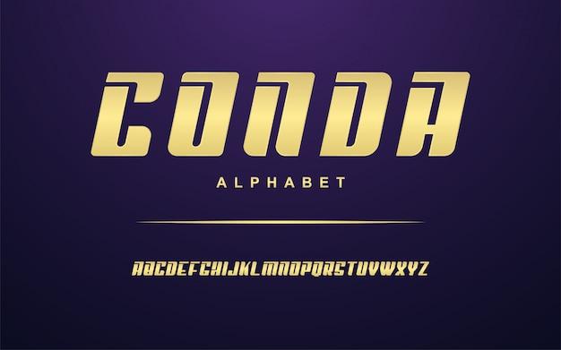Conjunto de fontes do alfabeto moderno dourado elegante