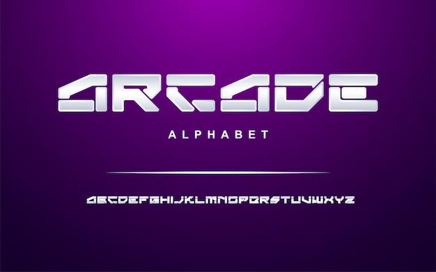 Conjunto de fontes do alfabeto moderno prateado elegante