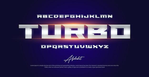 Conjunto de fontes do esporte tipografia moderna alfabeto