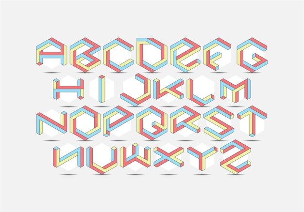Conjunto de fontes isométricas hexagonais