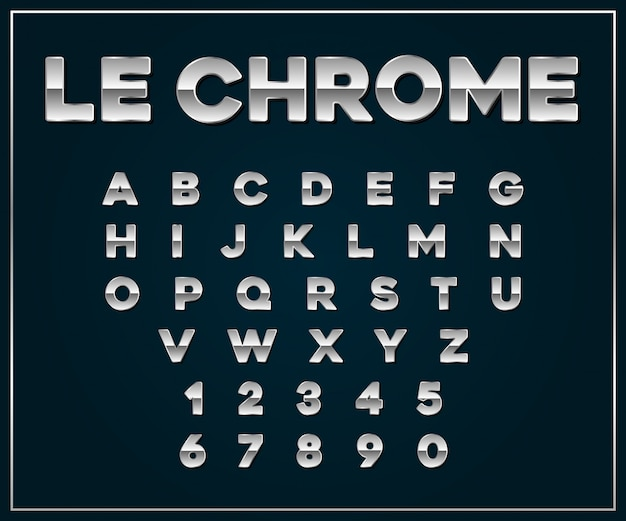 Conjunto de fontes metálicas de cromo prata.
