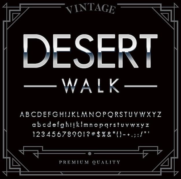 Conjunto de fontes metálicas prateadas ou cromadas. letras, números e caracteres especiais