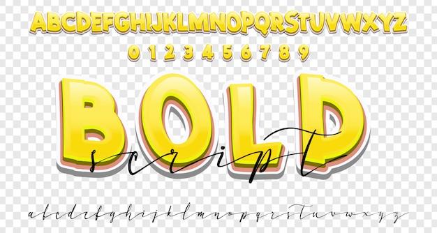 Conjunto de fontes negrito e caligrafia, estilo moderno de caligrafia