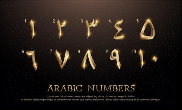 Conjunto de fontes número árabe de ouro elegante colorido metal cromado