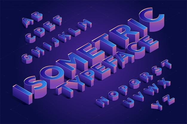 Conjunto de fontes tipo 3d isométrica. ilustração vetorial