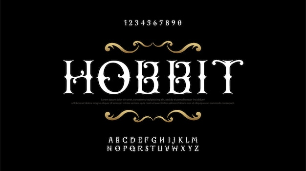 Conjunto de fontes vintage alfabeto elegante letras serif