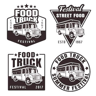 Conjunto de food truck com quatro emblemas pretos