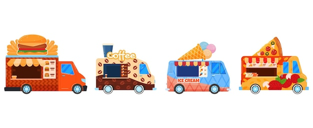 Conjunto de food trucks de rua