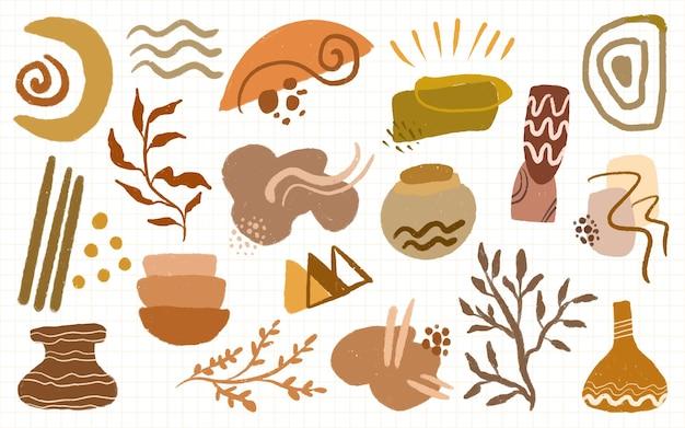 Conjunto de forma boho e folhas de decoração minimalista abstrata para ilustração de arte de parede