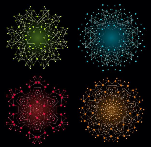 Conjunto de forma brilhante colorida de vetor, estrutura molecular com linhas e pontos de fundo.