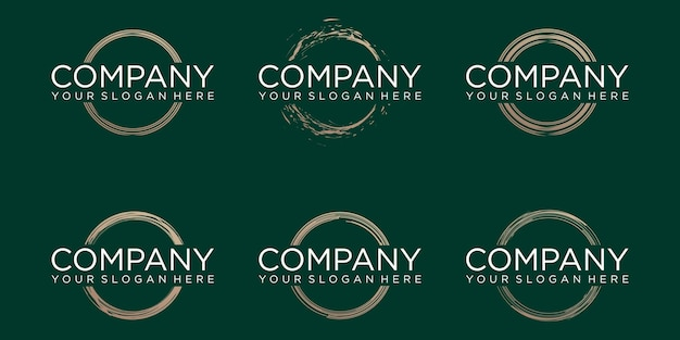 Conjunto de forma de círculo desenhada de mão dourada. etiqueta, elemento de design de logotipo. escova onda abstrata. ilustração vetorial.