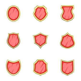 Conjunto de forma de escudo insígnia, estilo cartoon