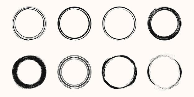 Conjunto de forma de vetor de anel de mancha de café - selos de círculo - pincelada redonda - ícone, design de logotipo.
