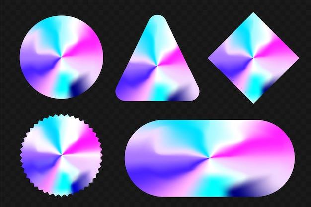 Conjunto de forma diferente de adesivo holográfico e forma geométrica