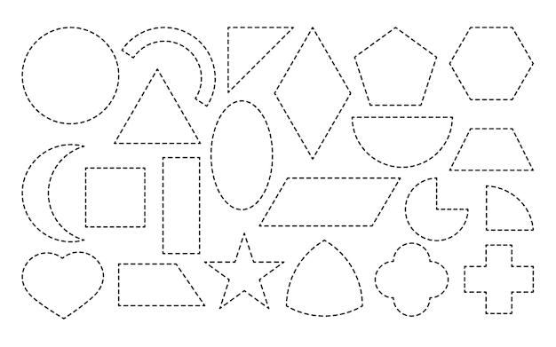 Conjunto de forma geométrica desenhada ícone de linha pontilhada formas matemáticas simples, quadrado e retângulo, elipse, triângulo ou outro material educacional para o jogo de aprendizagem isolado na ilustração vetorial branco