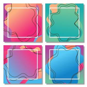 Conjunto de forma líquida abstrata design fluido conjunto gráfico moderno abstrato de formas de gradiente líquido