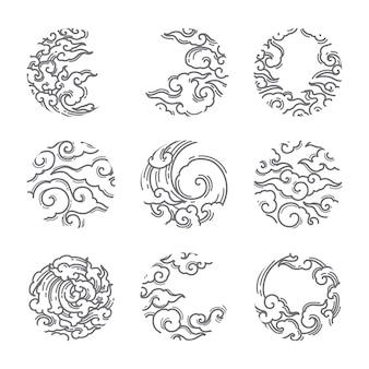 Conjunto de forma redonda tradicional nuvem asiática.